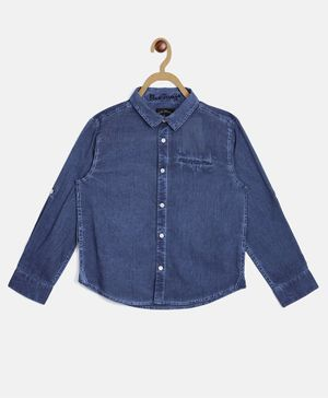 Blue Giraffe Full Sleeves Solid Denim Shirt - Blue