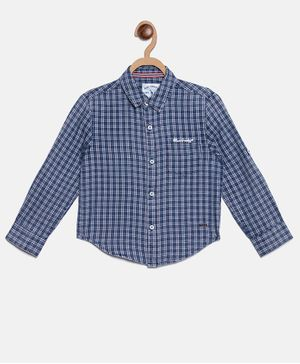 Blue Giraffe Full Sleeves Checkered Shirt - Blue