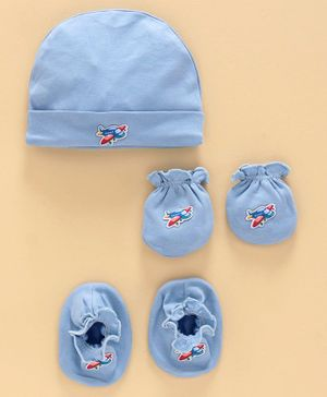 Ben Benny Cap, Mittens & Booties Set Airplane Patch - Blue