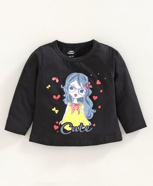 Little Darlings Full Sleeves Tee Girl Print - Black