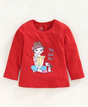 Little Darlings Full Sleeves Tee Dog Print - Red