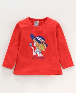 Little Darlings Full Sleeves Tee Bird Print - Red