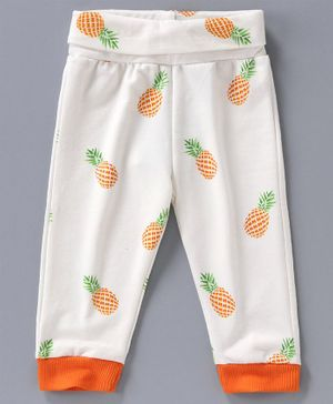 Little Darling Full Length Lounge Pant Pineapple Print - White Orange