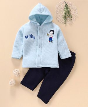 Little Darling Winter Wear Hooded Shirt & Bottoms Be Mine Embroidery - Blue