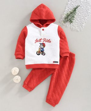 Little Darlings Full Sleeves Winter Wear Hooded Set Cycle and Text Embroidered - Red