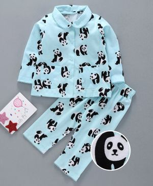 Teddy Full Sleeves Night Suit Panda Print - Blue
