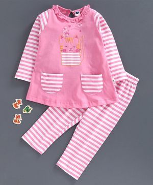 Teddy Full Sleeves Pajama Set Kitty Print  - Pink