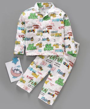 Ollypop Full Sleeves Night Suit Text Print - White Green