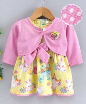 Dew Drops Cap Sleeves Frock with Full Sleeves Shrug Bunny Print - Yellow Pink