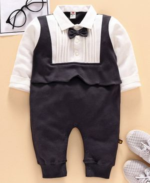 Brats and Dolls Full Sleeves Romper with Bow - Black