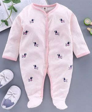 ToffyHouse Full Sleeves Footed Sleepsuit Striped - Pink