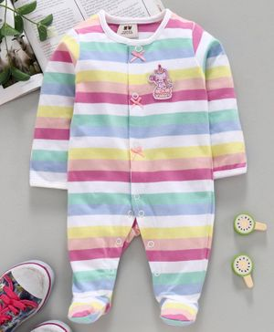 ToffyHouse Full Sleeves Striped Sleepsuit - Multicolor