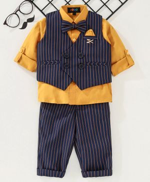 Robo Fry 3 Piece Stripe Party Suit With Bow - Yellow Navy Blue