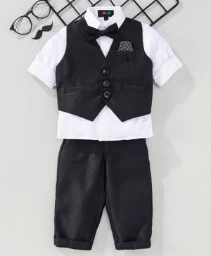 Robo Fry 3 Piece Stripe Party Suit With Bow - Black White
