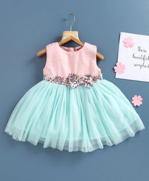 Babyhug Party Wear Sleeveless Frock Sequinned Bow Applique - Pink Sea Green