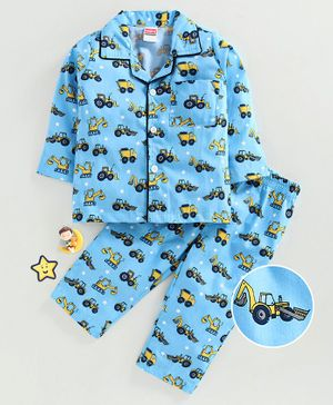 Babyhug Full Sleeves Woven Cotton Night Suit Vehicle Print - Blue