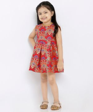 Babyhug Sleeveless Ethnic Brocade Dress - Red