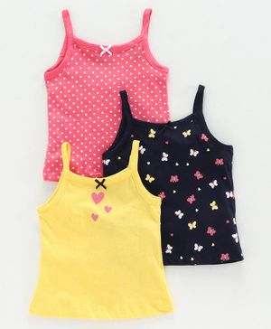 Babyoye Singlet Sleeves Slip Butterfly Print Pack of 3 - Yellow Pink Black