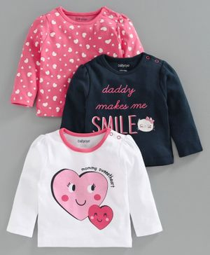 Babyoye Full Sleeves Printed T-Shirt Pack of 3 - Pink Blue