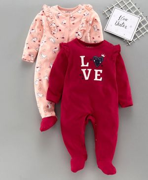 Babyoye Full Sleeves Footed Sleep Suit Pack of 2 - Red Pink