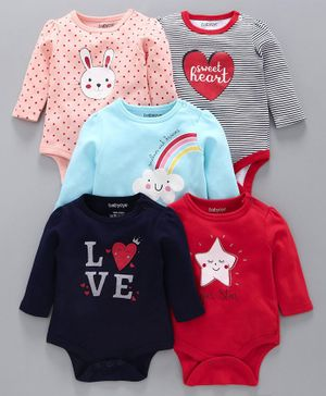 Babyoye Full Sleeves Onesies Multiprint Pack of 5 - Multicolour