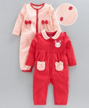 Babyoye Full Sleeves Sleep Suit - Red Pink