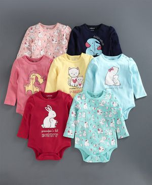 Babyoye Full Sleeve Bodysuits Pack Of 7 - Red Blue Pink