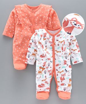 Babyoye Footed Sleep Suits Pack Of 2 - Coral White