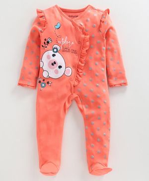Babyoye Full Sleeves Cotton Footed Sleepsuit - Coral