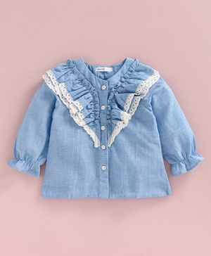 Babyoye Full Sleeves Woven Top with Lace - Blue