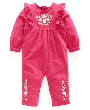 Babyoye Full Sleeves Romper Floral Embroidery - Pink