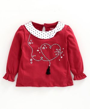 Babyoye Full Sleeves Cotton Tee Floral & Heart Embroidered - Red
