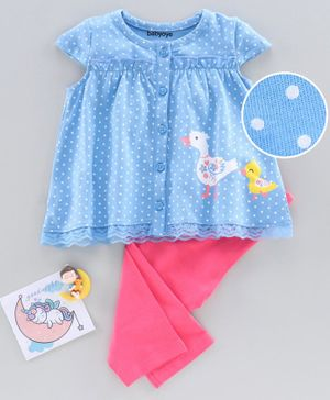 Babyoye Cap Sleeves Night Suit Duck & Dot Print - Blue Pink