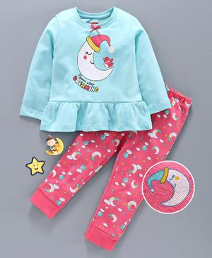 Babyhug Full Sleeves Night Suit Moon Print - Blue Pink
