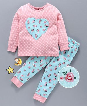Babyhug Full Sleeves Night Suit Floral Print - Blue Pink