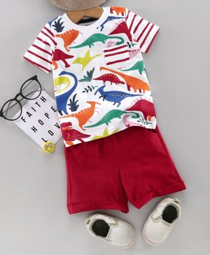 Babyhug Half Sleeves Tee & Shorts Dino Print - White Red