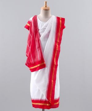 Bhartiya Paridhan Half Sleeves Blouse & Saree - Red White