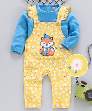 Babyhug Dungarees Style Romper with Full Sleeves Tee Fox Patch - Blue Yellow