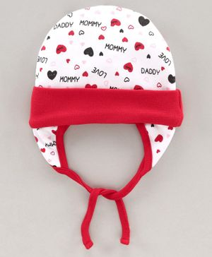 Babyhug 100% Cotton Cap With Tie Knot Style Heart Print White Red - Diameter 10 cm