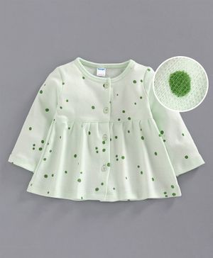 Tango Full Sleeves Polka Dot Frock - Light Green