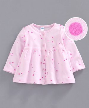 Tango Full Sleeves Polka Dot Frock - Pink