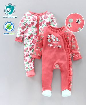Babyoye Anti Bacterial Full Sleeves Footed Sleepsuit Floral Print Pack of 2 - Pink