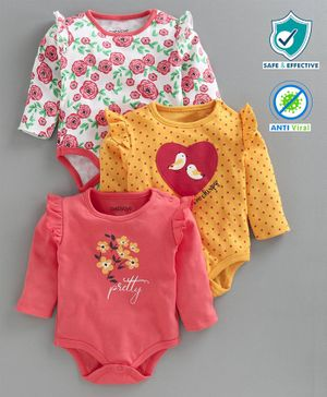 Babyoye Full Sleeves Onesies Floral Print Pack of 3 - White Yellow Pink