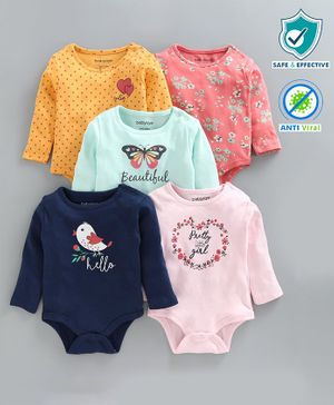 Babyoye Full Sleeves Multi Printed Onesies Pack of 5 - Multicolour