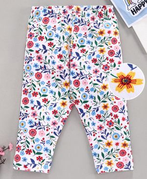 Babyhug Full Length Leggings Floral Print - White