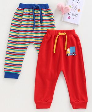 Babyhug Full Length Diaper Leggings Pack of 2 - Red Blue