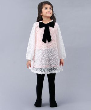 Babyoye Full Sleeves Embroidered Frock with Footed Tights - White Black