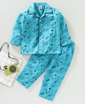 Babyhug Full Sleeves Night Suit Dino Print - Blue