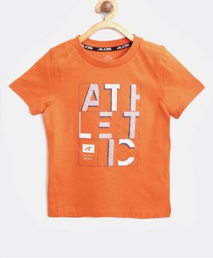 Alcis Half Sleeves Athletic Printed Tee - Orange