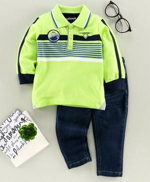 Babyoye Cotton Full Sleeves Striped Tee & Jeans - Green Navy